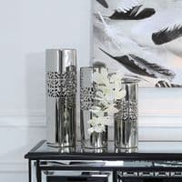 46cm Square Chrome Geometric Silver Vase
